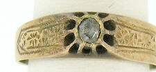 Antique 14k Yellow Gold Old Mine Cut Diamond Solitaire Ring w/ Engraved Band