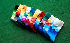 New Men Happy Socks Checked Multicolour British Style Gradient Colour