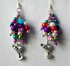 """It's 5 o'clock Somewhere"" Pearl Dangle Earrings. Handmade by Slave Violet"