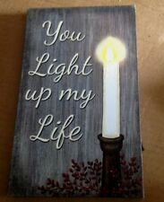 """Lighted Canvas Picture """"YOU LIGHT UP MY LIFE"""" Flickering Led Candle Sign"""