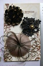 MOCHA BLACK GOLD Fabric Feather Facinator Flower 3 Flower Pk 60-80mm Manor House