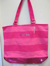 Victoria's Secret Sequin Stripes Canvas Pink Tote Bag with Silver Metal Logo