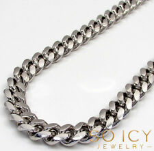 "28"" 7.8mm 132 Grams 10k White Real Gold SOLID Miami Curb Cuban Chain Mens"