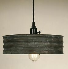 Vintage Rustic Primitive Industrial SIFTER Pendant Light Lamp Textured Gray
