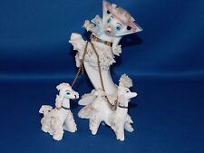 Vintage MAMA POODLE WITH 2 PUPPIES Arnart Creations Japan SPAGHETTI PORCELAIN