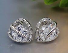 Women Fashion 925 Sterling Silver SWAROVSKI CRYSTAL Heart Shape Stud Earrings HE