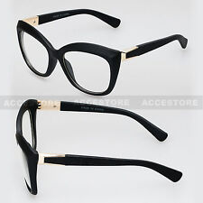 Retro Vintage Clear Lens Oversized Cat Eye Women Eye Glasses Black Frame