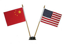 "USA & CHINA 4"" X 6"" DOUBLE STICK FLAG WITH BLACK STAND ON 10"" PLASTIC POLE"