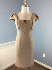 Max and Cleo BCBG Brown Sheath Dress Career Cocktail S 4 Cap sleeve Ponte Knit