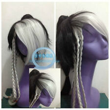 Fashion Wig Black and White Color Cosplay Wig Hair Wig + Ponytail