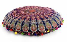 Ethnic Indian Mandala Floor Pillow Cover Round Cushion Ottoman Case Bohemian 32""