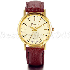 Fashion Mens Womens Watches Round Dial Leather Band Quartz Analog Wrist Watch