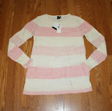 NWT Womens CALVIN KLEIN L/S Open Back Sweater PINK/CREAM Striped Size 2XL