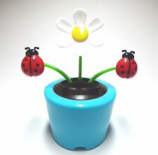 New Solar-Powered Dancing Flower Daisy with Lady Bug (Lt. Blue) ~ FREE SHIPPING