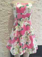 Lilly Pulitzer Pink Green White Floral Mini Dress Sz 0 Strapless