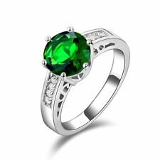 Anniversary Women's Fashion Cute Emerald 18K Gold Filled Round Cut Rings Size 8