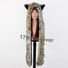 Tiger Full Hood Hoodie Fur Animal Hat Mittens Scarf 3 IN 1 Hat