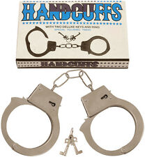 METAL HANDCUFFS FANCY DRESS POLICEMAN POLICEWOMAN COSTUME HEN STAG DO LOVE CUFFS