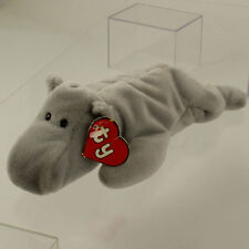 TY Beanie Baby - HAPPY the Hippo (Grey Version) (1st Gen Hang Tag - MWCT's)