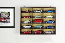 Hochwertige Vitrine / Wandvitrine aus Holz für 15 Modellautos braun 1:43 Atlas