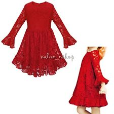 Flower Girl Baby Toddler Lace Long Sleeve Dress Party Wedding Bridesmaid Dresses