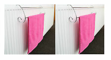 2 X 2 Bar Chrome Twin Rail Radiator Indoor Clothes Airer Dryer Towel Rack Stand