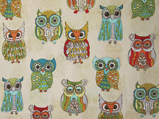 WISE OWLS OWL TAN INLAY COLORS COTTON FABRIC FQ