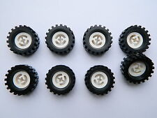 LEGO TECHNIC vintage WHEELS WHITE set of 8 Tire + Wheel 30 x 10.5 mm large tyre