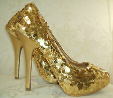 STUNNING GOLD SEQUIN PARTY SHOES BRAND NEW SIZE UK 6 EUR 39