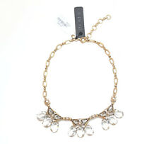 NWT J.CREW $55 Triad Jeweled Clear Crystal Pearl Necklace - AUTHENTIC