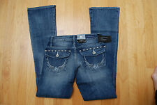NWT Blue ROCK & REPUBLIC Boot Cut Kasandra Low Rise Jeans Stitched Wings 0 Short