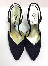 Authentic CHANEL Black Satin Slingback Beaded Pumps Heels size 37 or US 7
