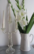 BEAUTIFUL ROMANTIC VINTAGE GLASS 3 ARM TABLE CANDELABRA ~ WEDDING DECOR / PROP
