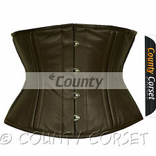 Waistbust Waist Training Cincher 18 Double Steel Boned Real Brown Leather Corset