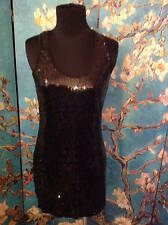 AUDREY 3+1 M EVENING BLACK SEQUIN LINED RACERBACK SLEEVELESS TUNIC TANK TOP