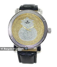 mens diamond silver watch gold silver money bag dial leather strap master