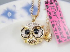 Betsey Johnson fashion jewelry Cute White Crystal owl pendant necklace # A413