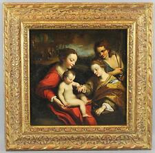 18thC Antique Italian Old Master O/C Oil Painting, Baby Jesus, Madonna & Admirer