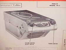 1948 PHILCO AUTO CAR RADIO SERVICE MANUAL MODEL CR-2 CHEVROLET FORD CHRYSLER