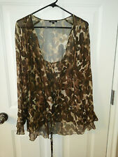 CLAUDIA STRATER ANIMAL PRINT SHEER LONG SLEEVE TOP SZ 42