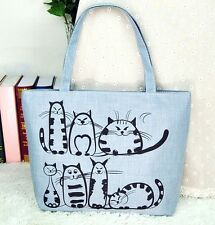 FD2651 Different Cat Kitten Canvas Satchel Tote Shopping Bag Shoulder Handbag