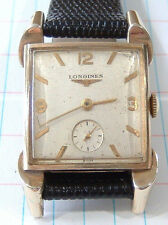 Vintage Mens Longines Watch Runs 10K Gold Filled Case 23Z Fancy Lugs New Band