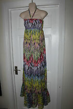 Ladies Miso Multi Coloured Summer Dress Size 8 Maxi Length Floaty Frock