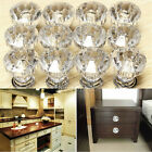 12Pcs Crystal Glass Door Knobs Drawer Cabinet Furniture Kitchen Handle Cupboard