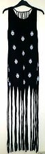 YOUR EYES ONLY BLACK WITH HENNA HANDS PRINT FRINGED COTTON FESTIVAL DRESS XS - S