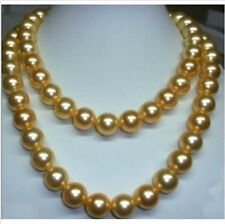 "WHOLESALE genuine 35"" 10-11 mm south sea golden pearl necklace 14K Gold Clasp"