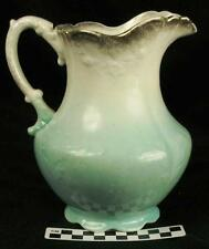 Vintage Anchor Pottery Pitcher Semi Porcelain Trenton New Jersey Blue Teal (HH)