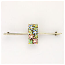 ART DECO ARGENTO SMALTO Fiore Pin Bar-Bernard INSTONE