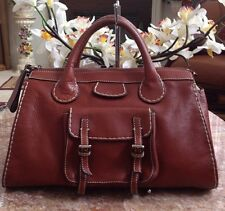 Chloe Mahogany Brown Leather 'Edith' Pocket Buckle Satchel Handbag Purse EUC