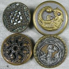 4 Nice Antique Buttons Victorian Scene